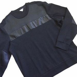 Calvin Klein Black Pullover Sweater Faux Leather
